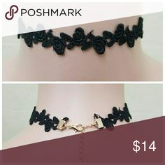 Floral Lace Choker Black Floral style lace chokers Jewelry Necklaces