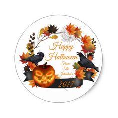 Wreath Crows Pumpkins Fall Leave Halloween Sticker - craft supplies diy custom design supply special