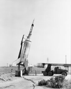 Little Joe on launcher at Wallops Island. Little Joe was a major project for Langley. It was a test of the escape and recovery systems on the Mercury spacecraft. (Great Images in NASA)
