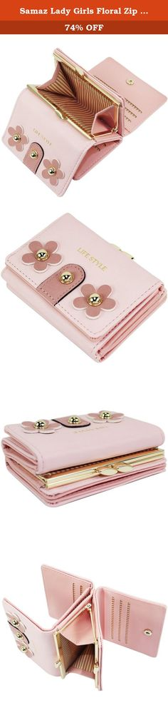 Samaz Lady Girls Floral Zip Mini Wallet Short Card Holder Purse Handbag Bag (Pink). What Makes Its Unique * Elegant and lady-like appearance: Two floral petals decorated outside * Delicate design: Special metal kiss lock pockets deisgn for coins/bills/change/receipts or other small things; sturdy and tightly closed, things will never dropped out of the clutch * Small size but SUPER LARAGE capacity: Features 6 card slots,2 ID/photo windows and several hidden pocket for your important stuff...