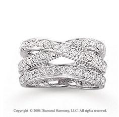 Unique Right Hand Diamond Rings | 14k White Gold Crossover 1 Carat Diamond Right Hand Ring