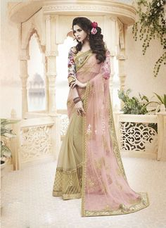 Pink Net Half and Half Saree With Blouse 61869