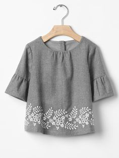 Embroidered ruffle-sleeve top Product Image