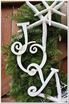 Starfish and burlap coastal Christmas wreath