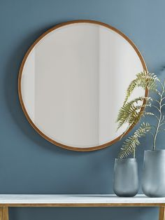 With a beautifully burnished antiqued brass frame, our simple round mirror will complement almost any living space. The slender frame adds to its elegance, while the large, circular mirrored surface will brighten your room.Also availa Large Bathroom Mirrors, Hall Mirrors, Hallway Mirror, Unique Mirrors, Living Room Mirrors, Round Mirrors, Foyer, Hanging Mirrors, Copper Mirror