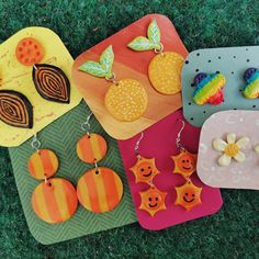 Polymer Clay Earrings || Pride, Lemon/Orange, Flower, Retro Stripes Polymer Clay Earrings, Pride, Lemon, Stripes, Orange, Retro, Flowers, Jewelry, Jewlery