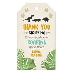 Dinosaur Favor Tags Dinosaur Birthday Party Boy A perfect addition to your little one's birthday party! Dinosaur Party Theme with T-Rex and leaves. 3rd Birthday Party For Boy, Dinasour Birthday, Birthday Themes For Boys, Fourth Birthday, Dinosaur Birthday Party, Fabulous Birthday, Frozen Birthday, Geek Birthday, Birthday Tags