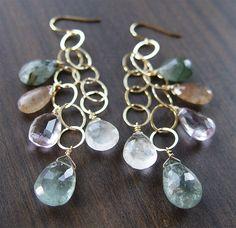 Aquamarine Amethyst Gold Earrings