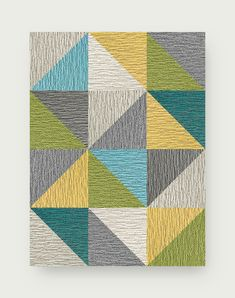 A spectrum of colors and diagonally cut squares create a kaleidoscope design that is sure to dazzle and add pizzazz to any environment. To assemble your rug, just use the FLORdots in the box with your squares. This rug contains cuts. You may receive excess material from the cuts in your order. | Made You Look 8 Triangle Patchwork - Kiwi Contemporary Area Rugs, Modern Rugs, Contemporary Design, Flor Rug, Geometric Rug, Carpet Tiles, Accent Rugs, Throw Rugs, Outdoor Rugs
