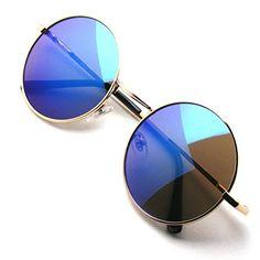 ba6920609b John Lennon Sunglasses Round Shades Gold Frame Mirror Lenses Retro Gold  Blue 42    Check