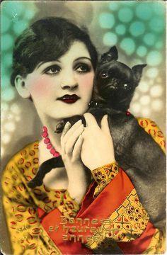 Woman hugging BRABANCON griffon DOG old photo postcard