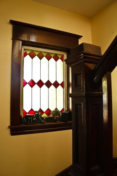 Beautiful gorgeous a stairwell window or entryway.