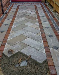 Concrete Patio Designs, Paver Designs, Backyard Patio Designs, Backyard Landscaping, Brick Paver Patio, Paving Design, Driveway Design, House Front Design, Exterior Design
