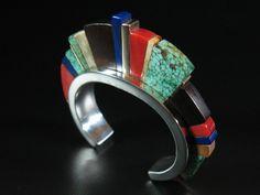 Hansen Moogie Smith stone inlay sterling 14k gold bracelet | Abby Kent Flythe Fine Art
