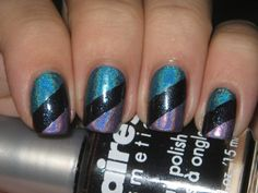 Tape manicure with holo colors