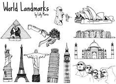 Free Hand Drawn World Landmark Vectors