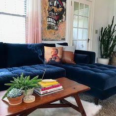 New living room dark blue couch decor ideas Blue Couch Living Room, Living Room Sectional, New Living Room, Sectional Sofa, Living Room Decor, Dark Blue Couch, Blue Velvet Couch, Living Room Designs, Home Decor