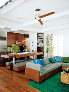 Convertible kitchen island / dining table / workspace