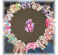 circle of Ribbon flip flops... these look EASY TO DO! This would be a fun party for school age girls~ Ribbon Retreat has instructions~ could use fabric instead of ribbon