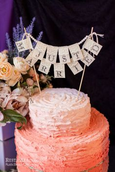 Lace Cake Topper Just Married Wedding Banner/ Burlap, lace and pearls, Vintage look