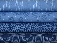 """Designerstoffe USA - Zen Chic """"True Blue"""" 4 FQ 45 x 55 cm - ein Designerstück von fadengerade bei DaWanda"""