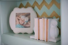 Medium Chevron Stencil stenciled in gold on back of bookshelf by Chelsy Boucher of B Couture Photography | Royal Design Studio