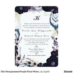 Chic Monogrammed Purple Floral Winter Wedding 5x7 Paper Invitation Card