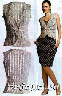Colete de malha com agulhas 3 / Вязаная жилетка спицами 3 / Knitted vest with needles 3 Gilet Crochet, Crochet Coat, Crochet Shirt, Crochet Jacket, Crochet Cardigan, Cute Crochet, Crochet Clothes, Knit Dress, Shrugs And Boleros