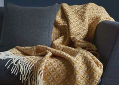 Mustard Yellow Cobweave Throw- The British Blanket Company