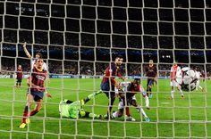 Gerard Pique of FC Barcelona scores his team's third goal during the UEFA Champions League Group H match between FC Barcelona and Ajax Amsterdam ag the Camp Nou stadium on September 18, 2013 in Barcelona, Catalonia.