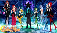 Sailor Moons Bureau of Bad Behavior or The Witches 5. From left to right: Kaolinite. Eudial. Mimete. Dr. Tomoe. Tellu. Viluy. Cyprine and Ptilol.