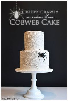 A super easy DIY tutorial for a modern spiderweb cake. Sticky stringy marshmallows are wrapped and spun around a cake to create a creepy, crawly cobweb cake! Created by Carrie Sellman.