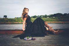 handmade custom bohemian vintage black lace wedding gown