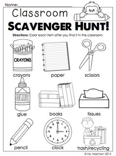 Back to School Printables - Kindergarten Literacy and Math. Classroom items scavenger hunt!