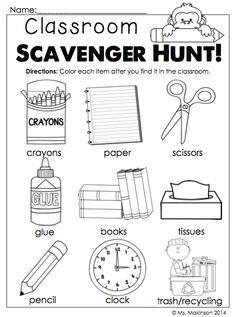 Back to School Printables - Kindergarten Literacy and Math.  Classroom items scavenger hunt!