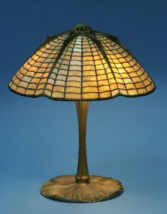 Tiffany Spider & Web Bronze and Favrile Glass Table Lamp.