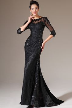 51a21568e131 Black Half Sleeves Lace Evening Gown (02140700)