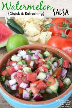 Be sure to check out this Watermelon Salsa Recipe and Homemade Tortilla Chips! Perfect for Summertime Parties by the pool or lake! Homemade Tortilla Chips, Homemade Tortillas, Watermelon Salsa, Crockpot, Healthy Snacks, Healthy Recipes, Fruit Dishes, Salsa Recipe, Dessert