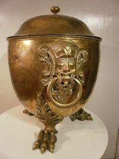 Antique 19th c. William Stoutter & Sons English Brass Urn shape Coal Hod Scuttle | eBay