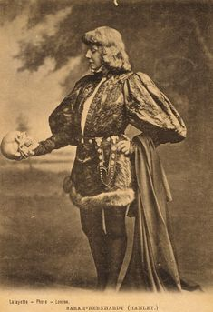 The Divine Sarah Bernhardt as Hamlet, Famous Belle Époque French Theatre Actress in Historical Costume with Skull Original RARE Antique Photo Postcard Sarah Bernard, Tomas Moro, Fashion Kids, The Power Of Belief, Theater, Denmark Travel, Only Play, Alphonse Mucha, Historical Costume