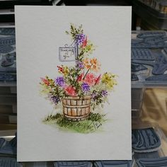 Last one for tonight #watercolor #watercolortheartimpressionsway #aistamps #distressmarkers #spring