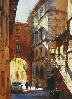 """About a week ago, my friend Denise happened to """"like"""" this watercolor painting by Taiwanese artist Chien Chung-Wei (aka Prince Hibari). Watercolor City, Watercolor Artists, Watercolor Landscape, Watercolor Paintings, Watercolors, Urban Landscape, Landscape Art, Landscape Paintings, Landscapes"""