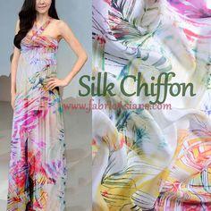 SILK Chiffon Palm Leaf Fabric. Tropical print silk by fabricAsians.etsy.com COUPON: TrulyHandmade