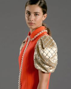 "Miu Miu on Instagram: ""Actress #ElisaVisari debuts Upcycled by #MiuMiu with an orange cocktail dress, made from an original 1960s design, customised with glass…"""