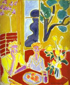 Matisse, Henri (1869-1954) - 1947 Two Girls with Yellow and Red Background,Barnes Foundation