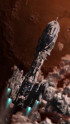 Starship Ascending - looks like event horizon Spaceship Art, Spaceship Design, Arte Sci Fi, Sci Fi Art, Sci Fi Fantasy, Fantasy World, Concept Ships, Concept Art, Interstellar