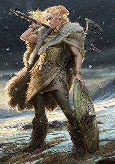 f Fighter barbarian Plate Shield Axe hilvl mountain snow hills forest MtG: Lovisa Coldeyes (detail) by Anna Steinbauer