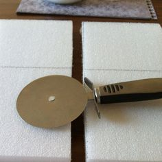 My spur of the moment thought - pizza cutter works fab for cutting styrofoam craft board!