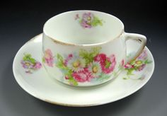 Silesia Germany Vintage White Flat Tea Cup and Saucer Set with Pink Floral  #Silesia