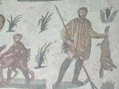 Hunter from the Piazza Armerina mosaics. Note the wide, short unbelted tunica and the leg wrappings.